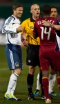LA Galaxy midfielder David Beckham, tries to lighten the mood during an argument with the referee in a  match against Real Salt Lake at the FC Tucson Desert Diamond Cup in Tucson on Feb. 25, 2012. Michel Duarte/The Arizona Republic.